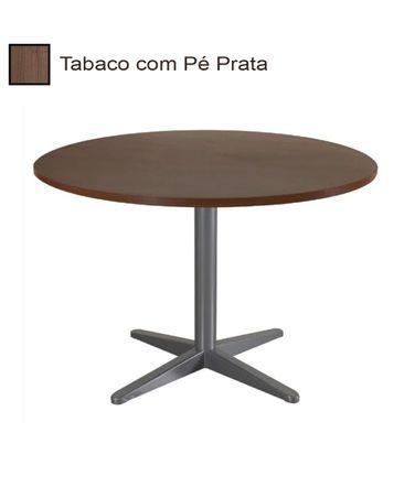 mesa-de-reuniao-redonda-com-pe-cinza-alfamob-corporativo-castanho-tannat